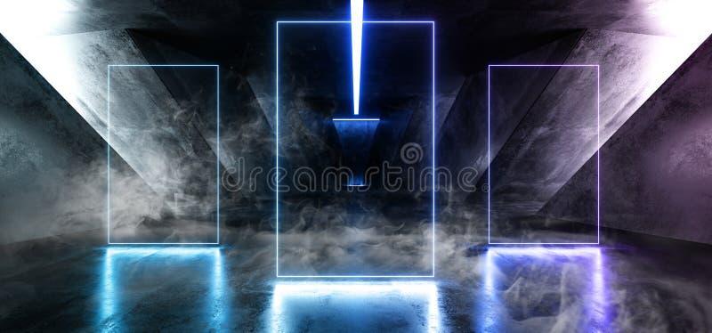 Het Neon van FI van rooksc.i Fluorescente Trillende Rechthoek Gestalte gegeven het Gloeien Blauwe Purpere Lichten in Reusachtig D stock illustratie