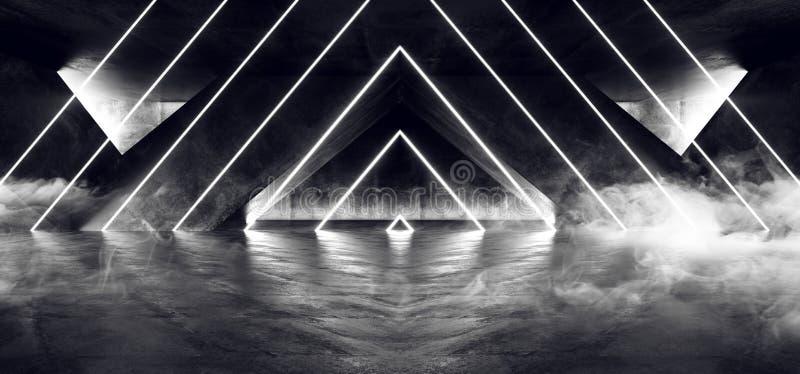 Het Neon van FI van Sc.i van de rookmist Fluorescente Trillende Driehoek Gestalte gegeven het Gloeien Blauwe Witte Lichten in Reu stock illustratie