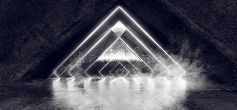 Het Neon van FI van Sc.i van de rookmist Fluorescente Trillende Driehoek Gestalte gegeven het Gloeien Blauwe Witte Lichten in Reu vector illustratie