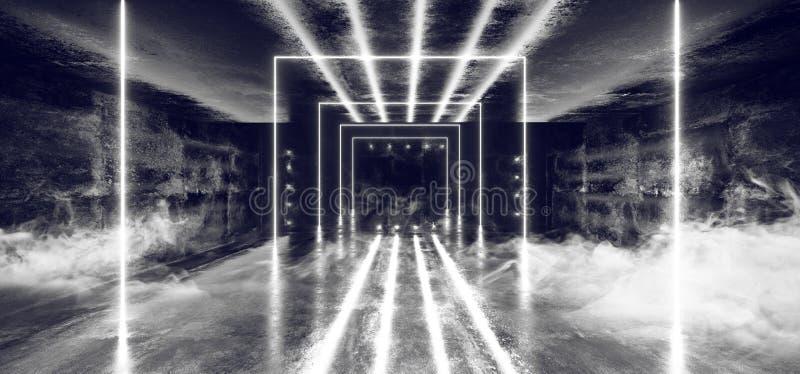 Het Neon van FI van Sc.i van de rookmist Fluorescente Trillende Samenvatting Gestalte gegeven het Gloeien Blauwe Witte Lichten in vector illustratie