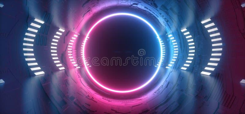 Het Neon van FI van studiosc.i het Gloeien van de de Poort Poortgradiënt van de Gebiedcirkel het Ruimteschip Weerspiegelende Moth stock illustratie
