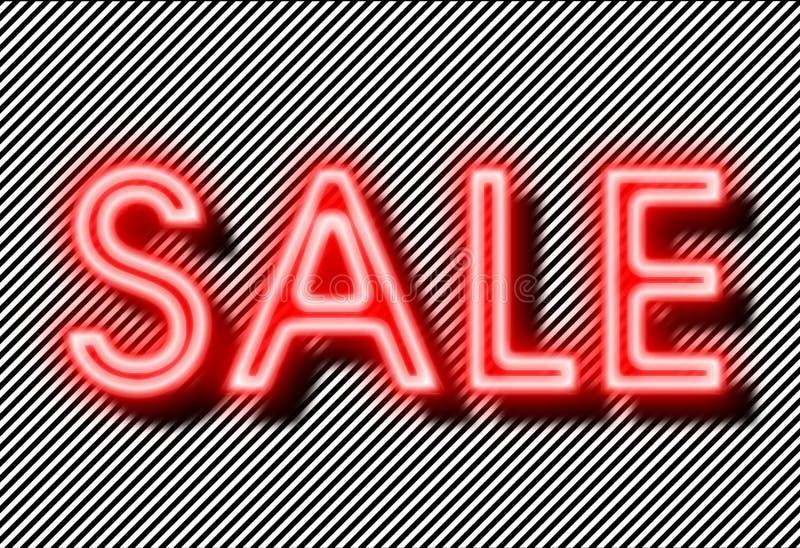 Het neon van het verkoopteken op strokenachtergrond stock foto