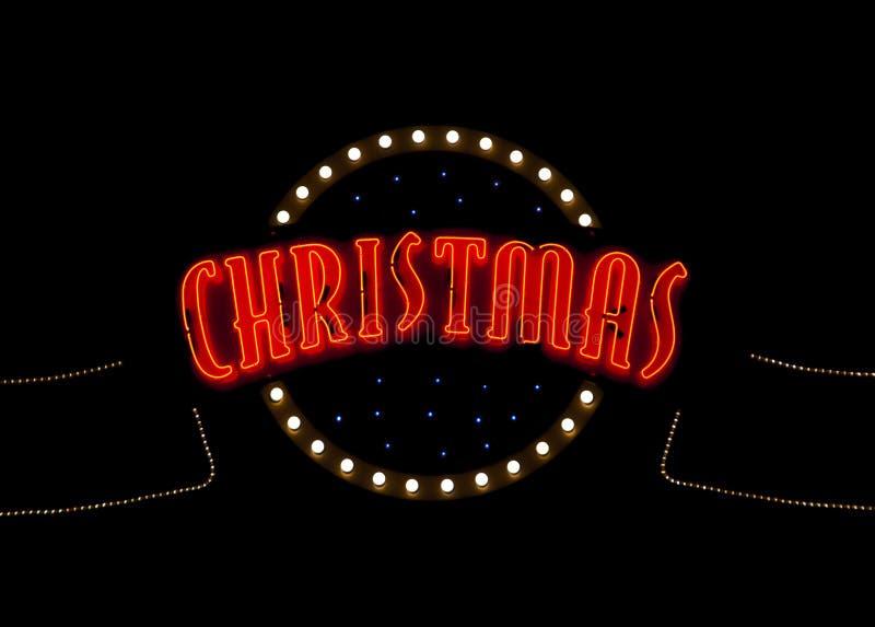 Het neonlichtteken van Kerstmis stock afbeeldingen