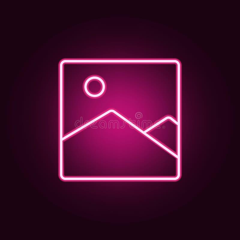 het neonpictogram van het beeldlandschap Elementen van Webreeks Eenvoudig pictogram voor websites, Webontwerp, mobiele toepassing royalty-vrije illustratie