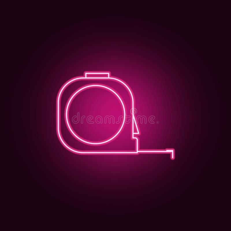 het neonpictogram van de bouwroulette Elementen van Maatregelenreeks Eenvoudig pictogram voor websites, Webontwerp, mobiele toepa vector illustratie