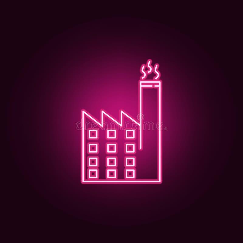 Het neonpictogram van de Ecofabriek Elementen van ecologiereeks Eenvoudig pictogram voor websites, Webontwerp, mobiele toepassing royalty-vrije illustratie