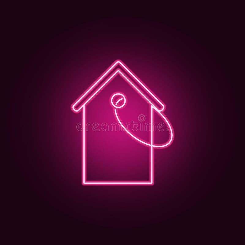 Het neonpictogram van het huisprijskaartje Elementen van Real Estate-reeks Eenvoudig pictogram voor websites, Webontwerp, mobiele stock illustratie