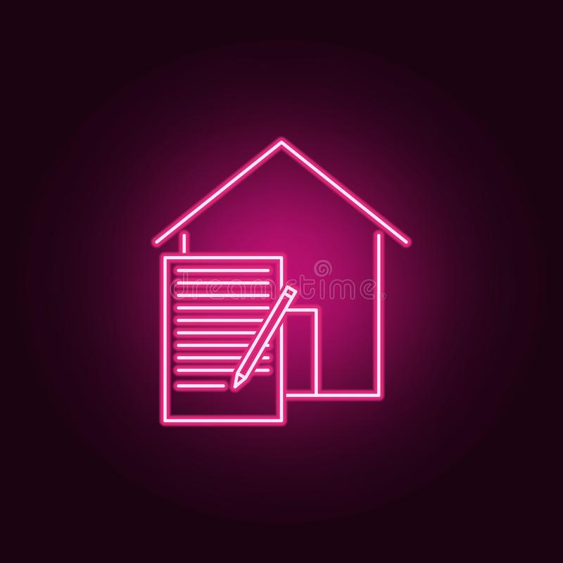 Het neonpictogram van het huurcontract Elementen van Real Estate-reeks Eenvoudig pictogram voor websites, Webontwerp, mobiele toe royalty-vrije illustratie