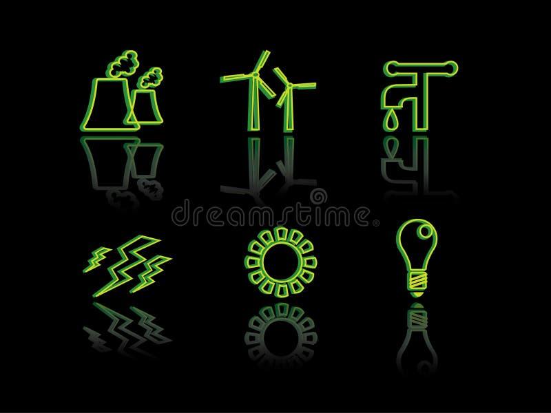 Het neonreeks van de ecologie stock illustratie