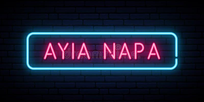 Het neonteken van Ayianapa Helder licht uithangbord vector illustratie