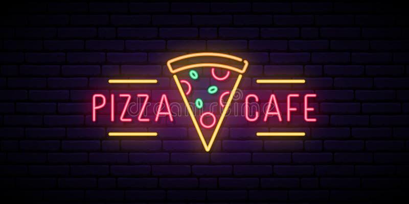 Het neonteken van de pizzakoffie royalty-vrije illustratie