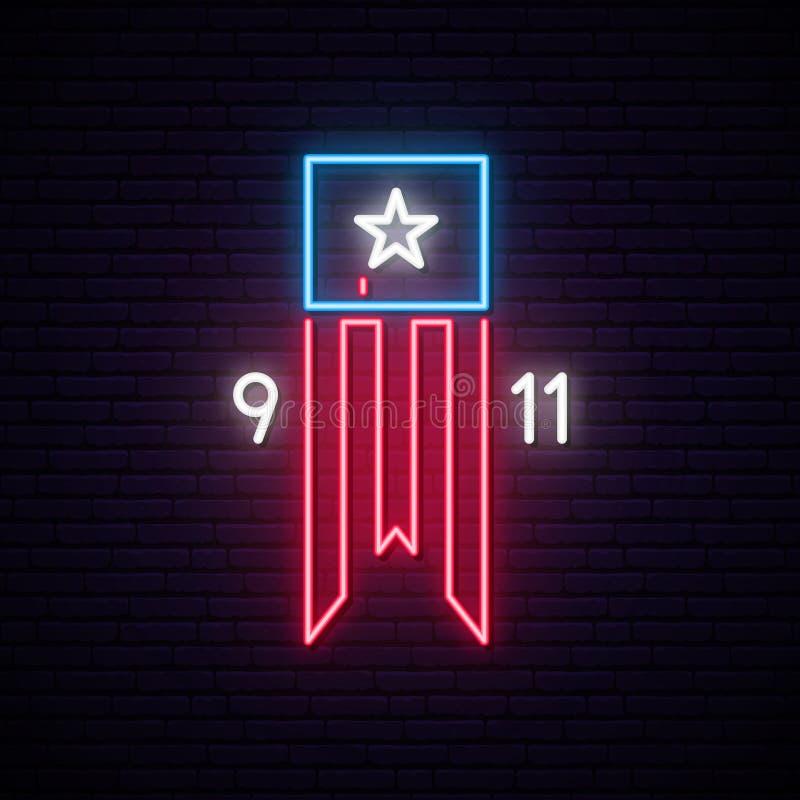 Het neonteken van patriotdag 9-11 royalty-vrije illustratie