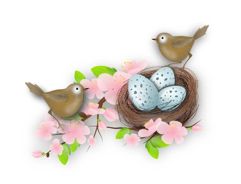 Het nest van de vogel met twee vogels vector illustratie