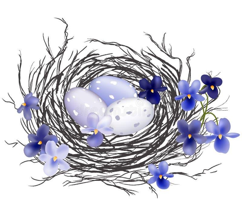 Het nest van de vogel met viooltjes stock illustratie