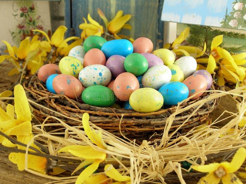 Pasen-nest Met Suikergoedeieren Gratis Stock Foto's