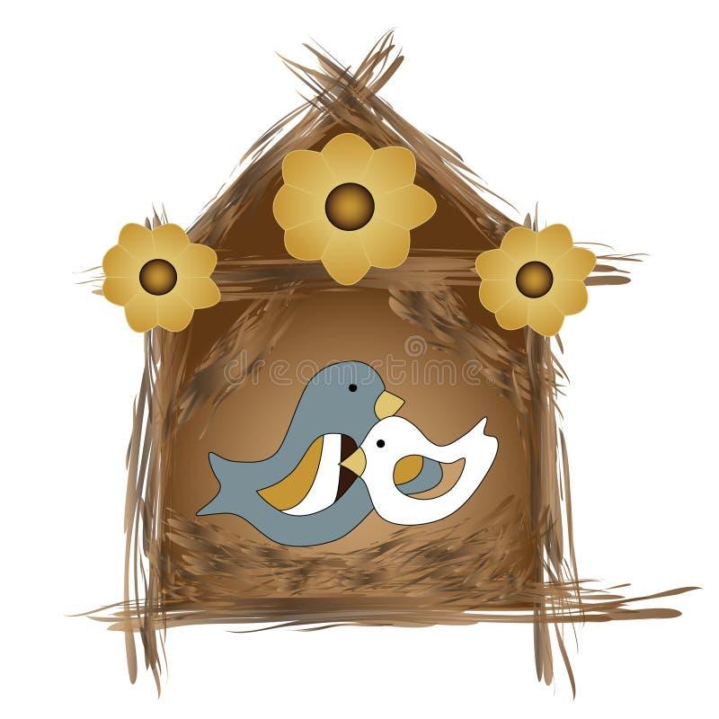 Het nest van vogels vector illustratie