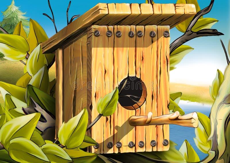 Het nestelen doos voor vogels royalty-vrije illustratie