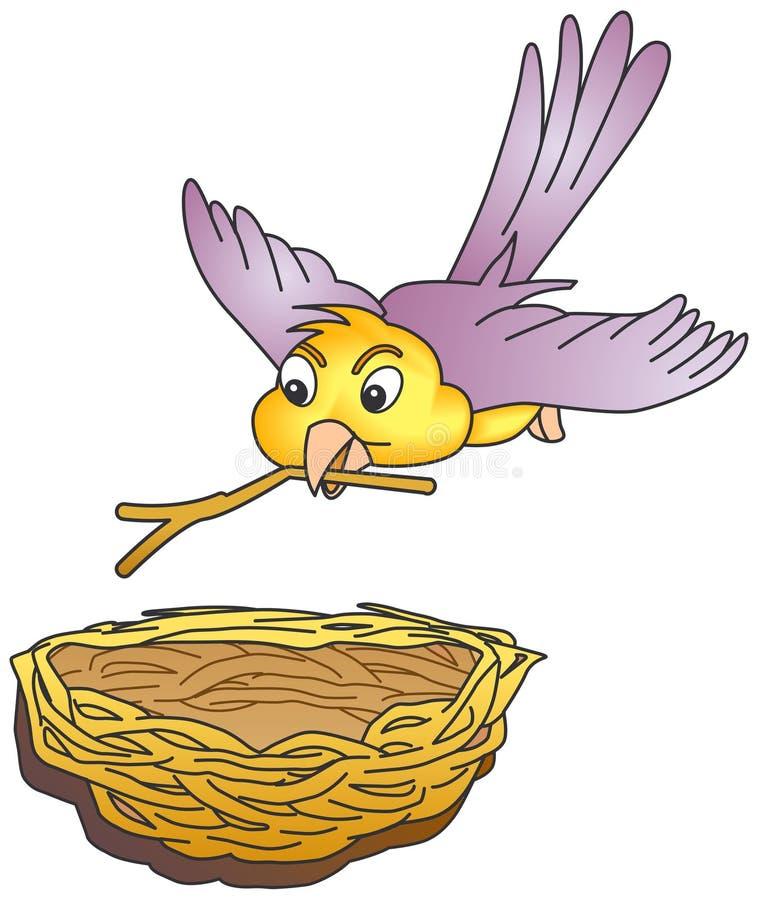 Het nestelen van de vogel stock illustratie