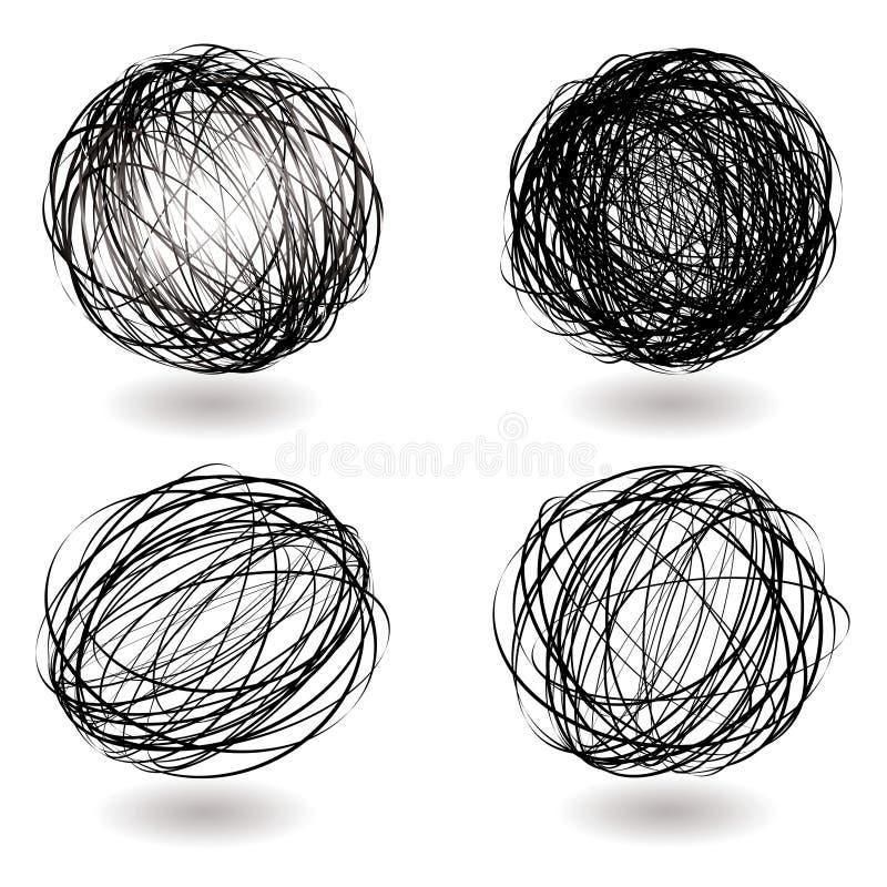 Het nestvariatie van het gekrabbel stock illustratie