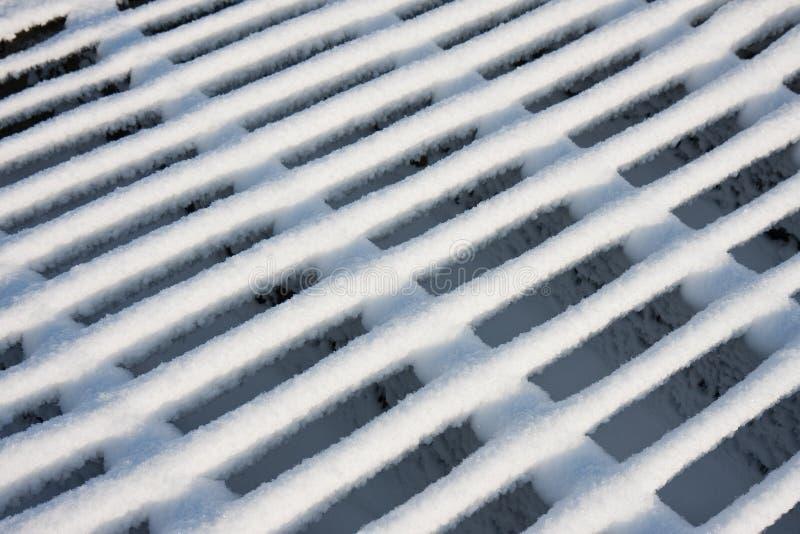 Het net van het vee dat door maagdelijke sneeuw wordt behandeld royalty-vrije stock fotografie
