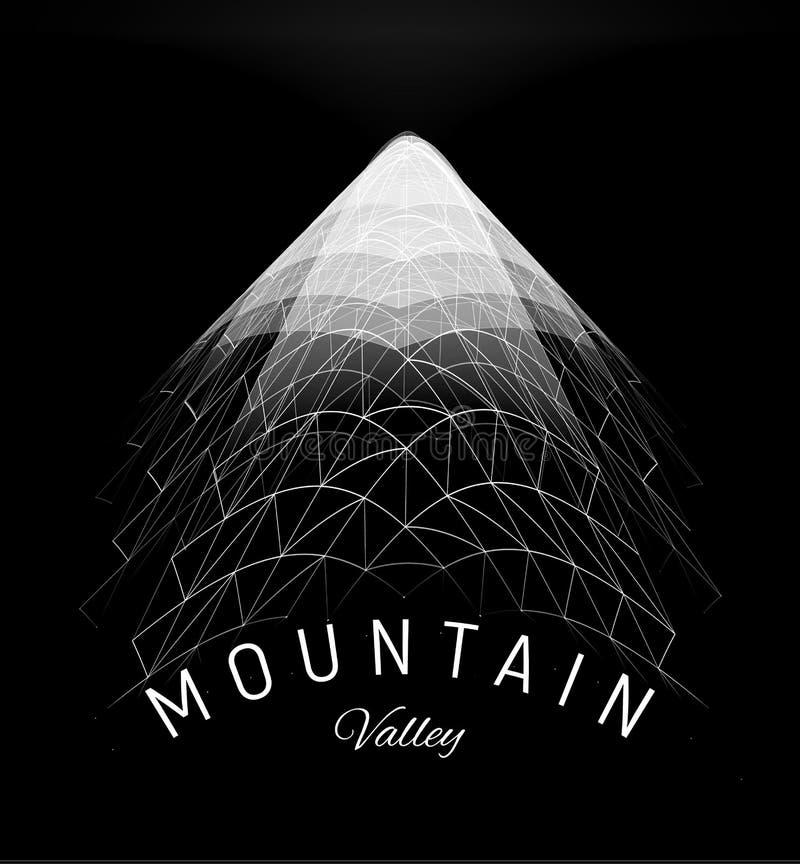 Het netconcept van de bergvallei Het landschapselement van de Wireframeveelhoek, de digitale piek van driehoeken geometrische mod stock illustratie