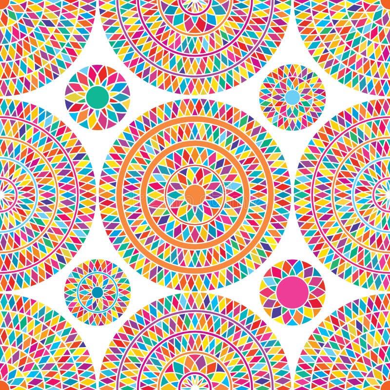 Het netto naadloze patroon van de Mandalabloem vector illustratie