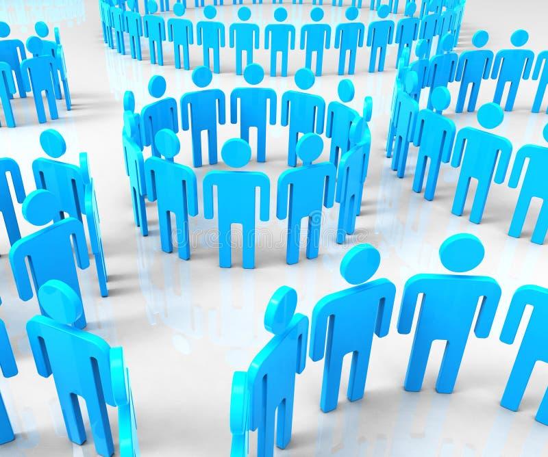 Het netwerk groepeert Middelen Globale Mededelingen en communiceert stock illustratie