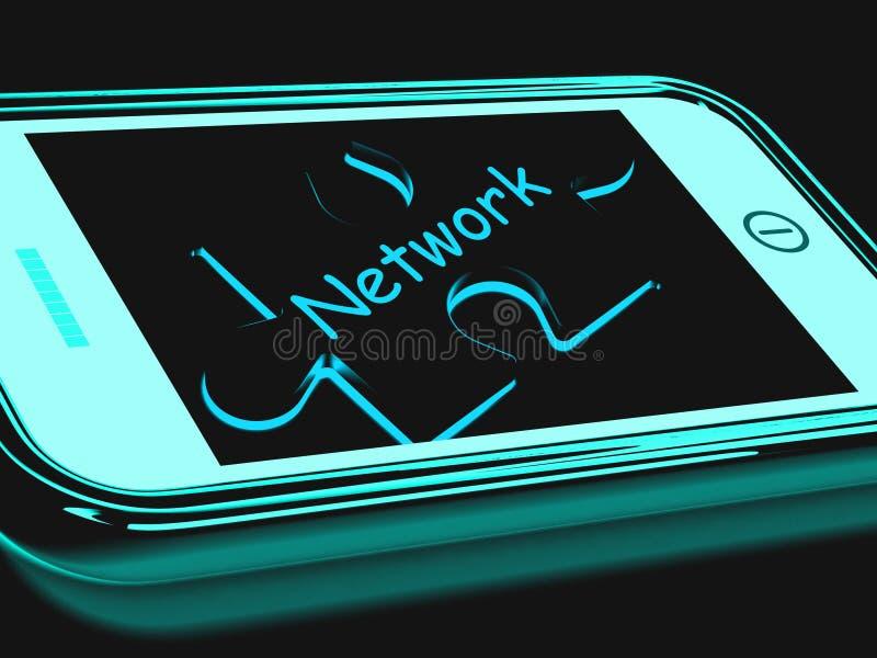 Het netwerk Smartphone toont het Verbinden en het Communiceren op Web stock illustratie
