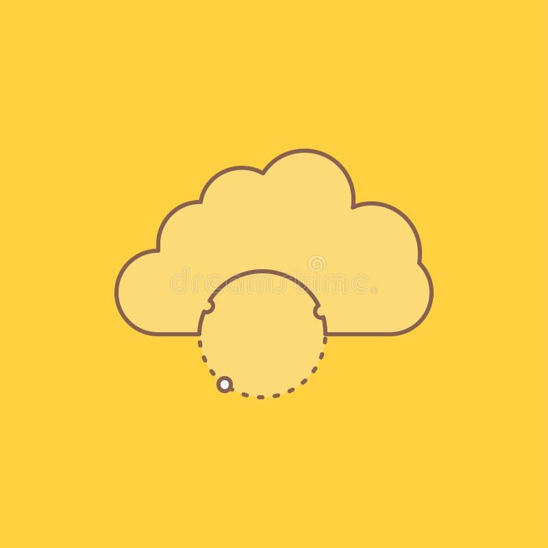 het netwerk, stad, bol, hub, infrastructuur Vlakke Lijn vulde Pictogram Mooie Embleemknoop over gele achtergrond voor UI en UX, vector illustratie