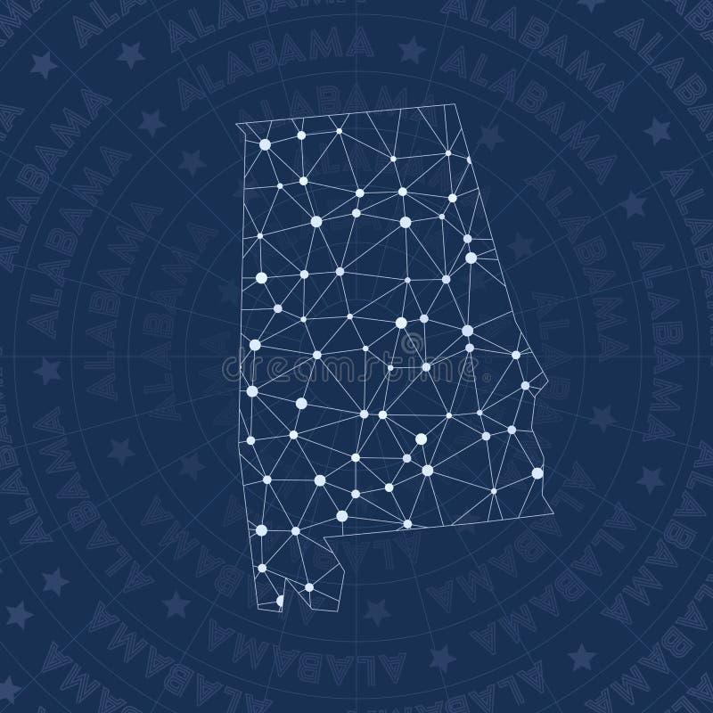 Het netwerk van Alabama, constellatie stileert ons de kaart van de staat stock illustratie