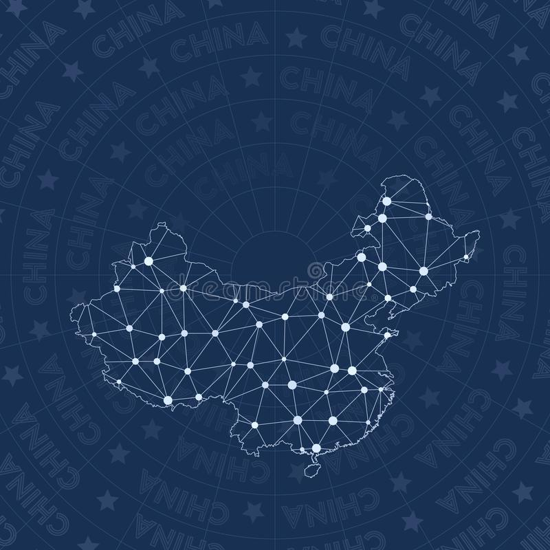 Het netwerk van China, de kaart van het land van de constellatiestijl stock illustratie