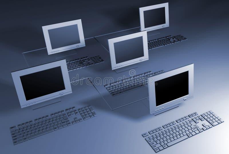 Het netwerk van computers stock illustratie