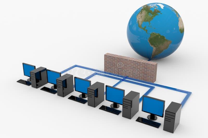 Het netwerk van de computer met server en firewall stock illustratie
