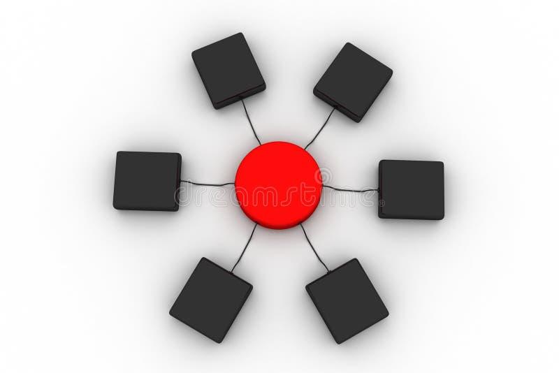 Het netwerk van de computerserver met gegevens het overbrengen vector illustratie