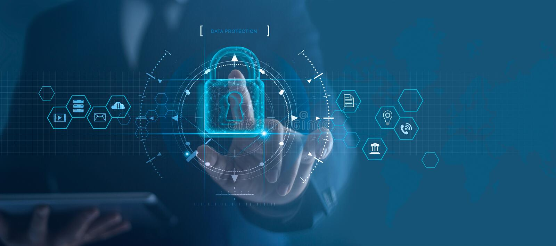 Het netwerk van de Cyberveiligheid Hangslotpictogram en Internet-technologievoorzien van een netwerk Zakenman die gegevens persoo royalty-vrije stock fotografie