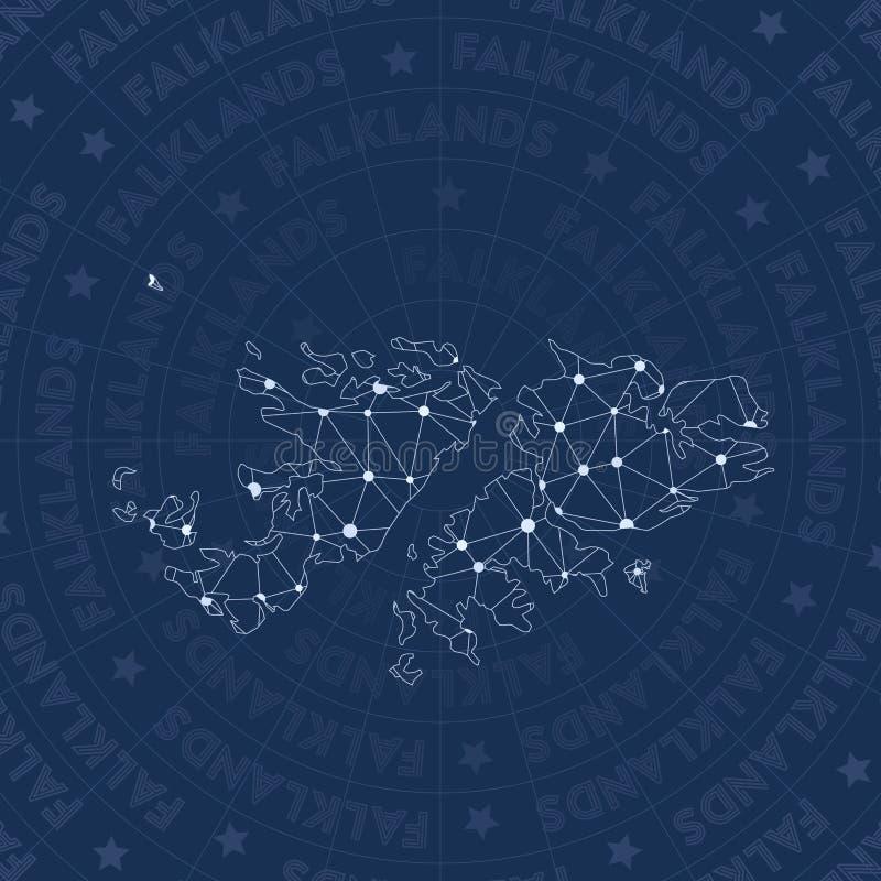 Het netwerk van de Falkland Eilanden, het land van de constellatiestijl stock illustratie