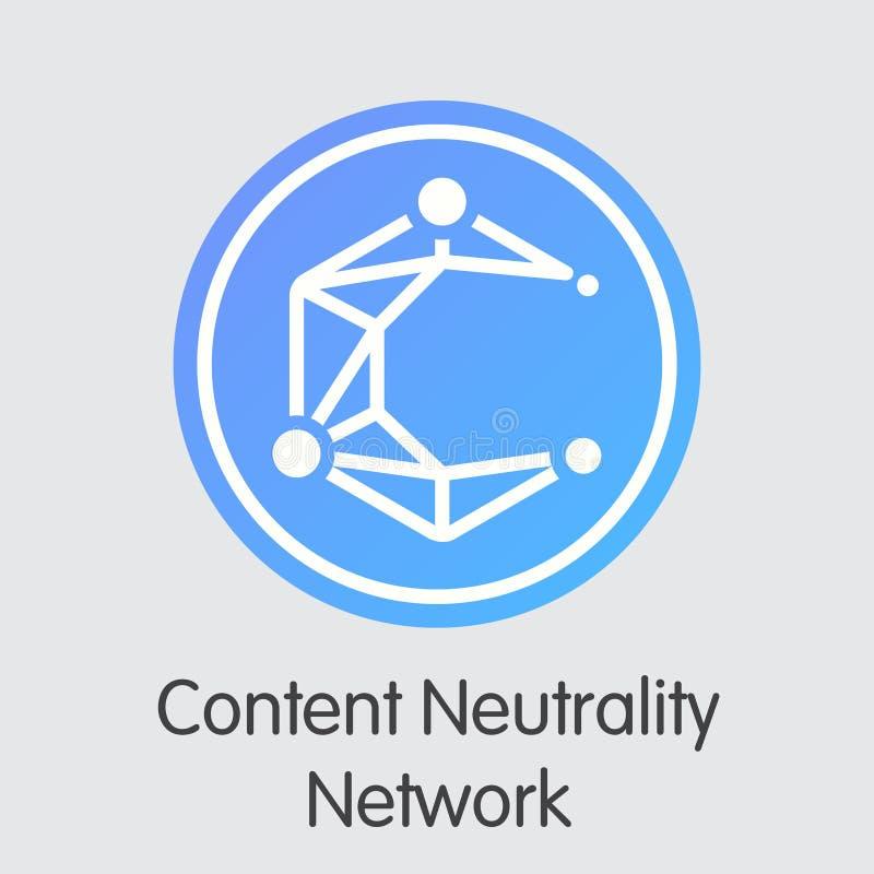 Het Netwerk van de inhoudsneutraliteit - Digitaal Muntstuk Vectorpictogram stock illustratie