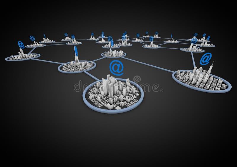 Het netwerk van de stad stock illustratie