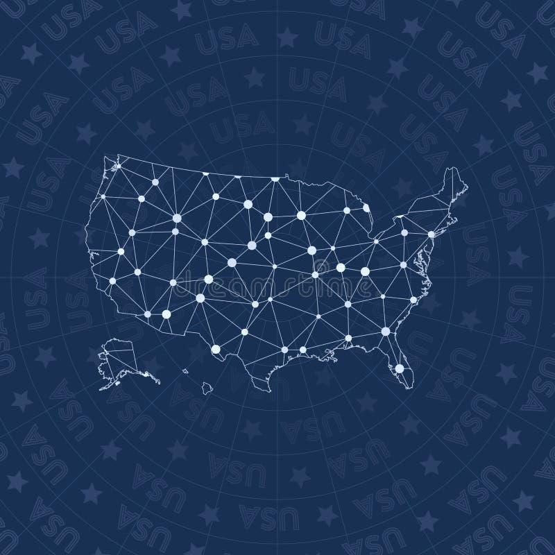 Het netwerk van de V.S., de kaart van het land van de constellatiestijl vector illustratie