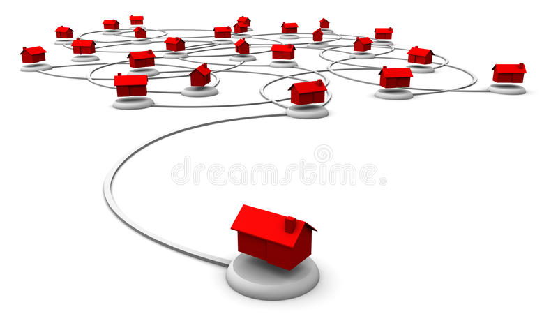 Het Netwerk van het Web van Huizen stock illustratie
