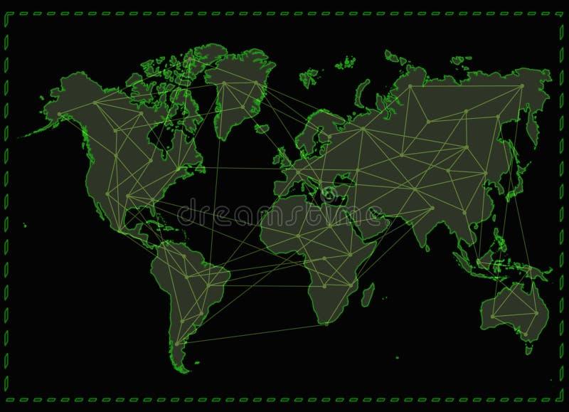 Het netwerk van Internet van de wereldkaart stock illustratie