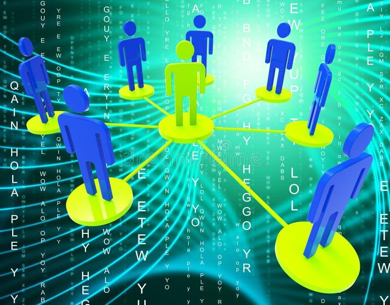 Het netwerk van Mensen betekent Globale Mededelingen en communiceert vector illustratie