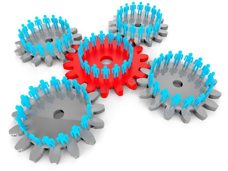 Het netwerk van Mensen toont Serververbinding en Samenhorigheid vector illustratie