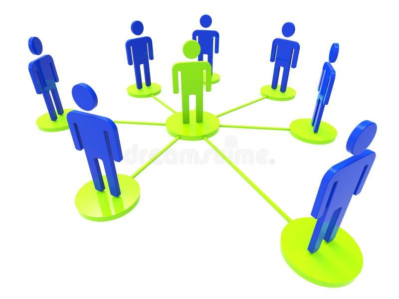 Het netwerk van Mensen vertegenwoordigt Globale Mededelingen en Computer vector illustratie