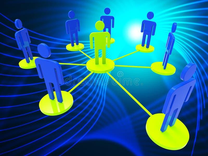 Het netwerk van Mensen vertegenwoordigt Globale Mededelingen en Computer stock illustratie