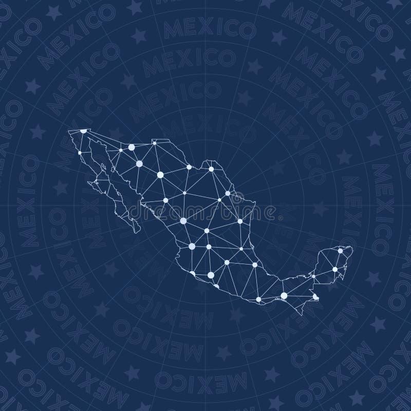 Het netwerk van Mexico, de kaart van het land van de constellatiestijl stock illustratie