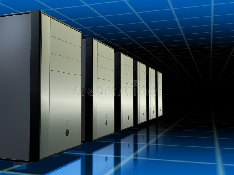 Het netwerk van servers stock illustratie