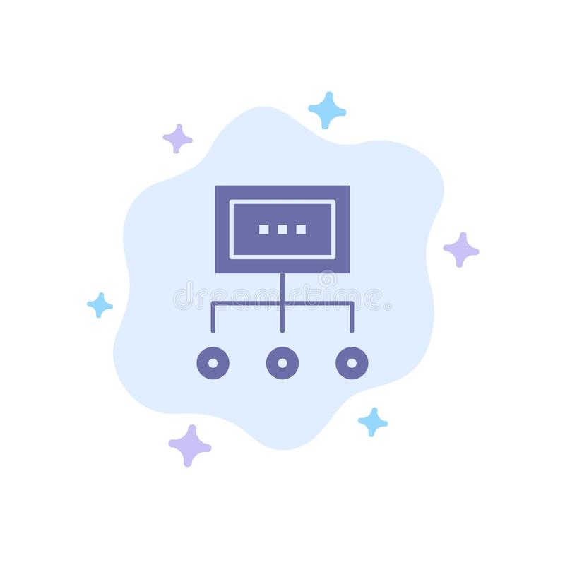 Het netwerk, Zaken, Grafiek, Grafiek, Beheer, Organisatie, Plan, verwerkt Blauw Pictogram op Abstracte Wolkenachtergrond stock illustratie