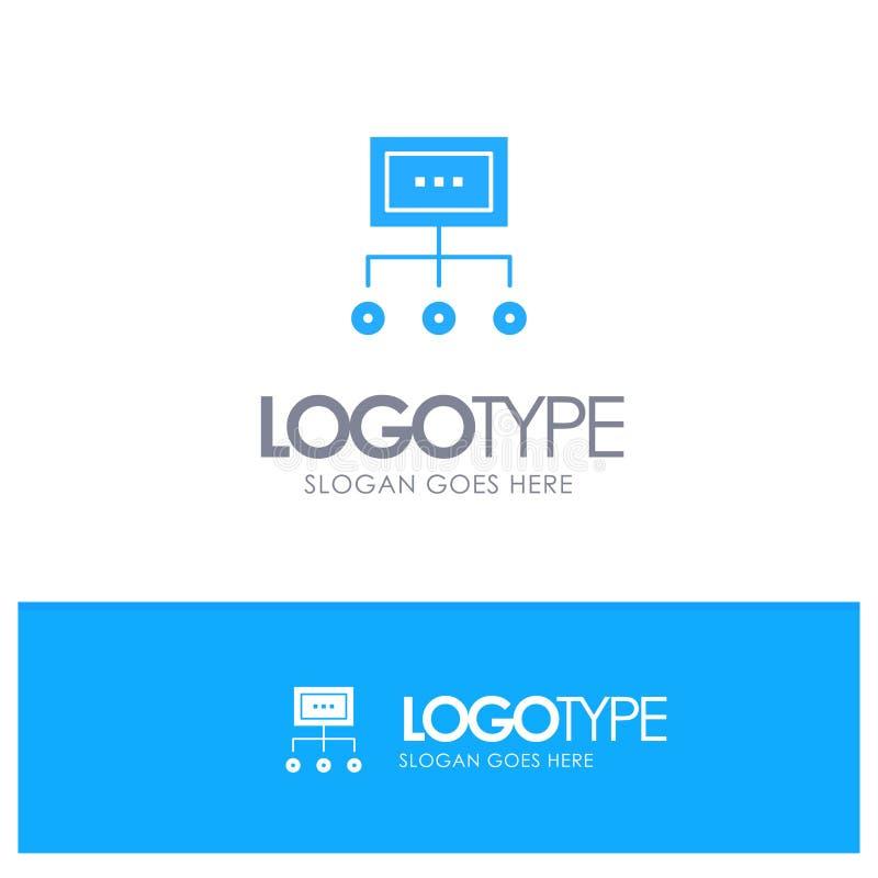 Het netwerk, Zaken, Grafiek, Grafiek, Beheer, Organisatie, Plan, verwerkt Blauw Stevig Embleem met plaats voor tagline stock illustratie