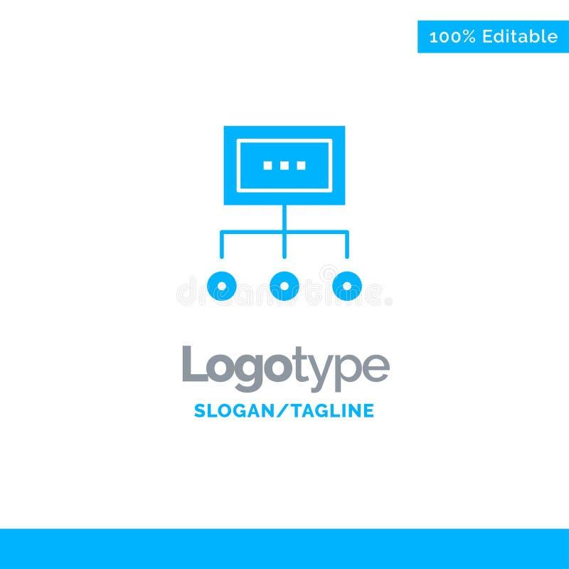 Het netwerk, Zaken, Grafiek, Grafiek, Beheer, Organisatie, Plan, verwerkt Blauw Stevig Logo Template Plaats voor Tagline stock illustratie